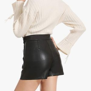 Classy Black Faux Leather Shorts